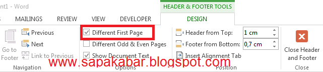 Membuat halaman pertama tidak ada nomor halamannya