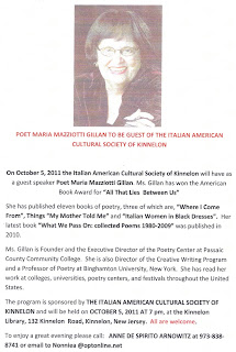 Poet Maria Mazziotti Gillan at Kinnelon Library, 10/5/11