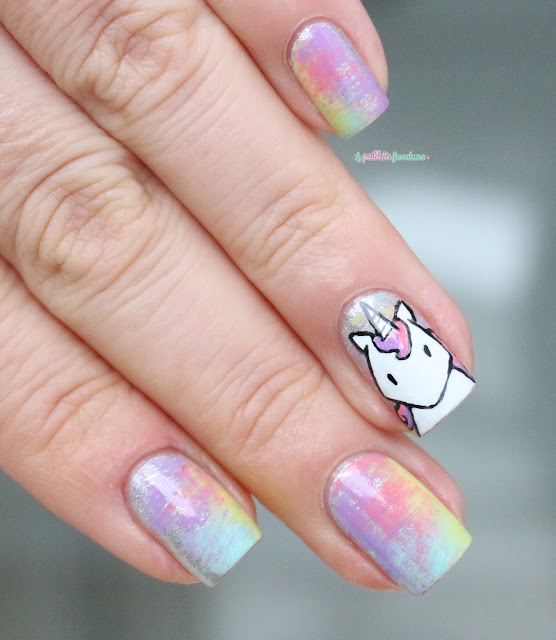 Paint All The Nails Presents Dry Brush kawaii unicorn rainbow nail art