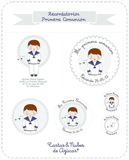 Recordatorios primera comuni n ii tartas y nubes de az car - Etiquetas comunion para imprimir en casa gratis ...