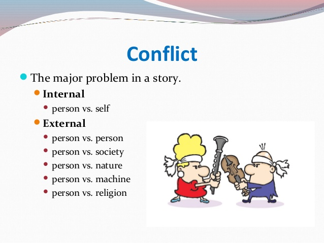 internal and external conflict in the In fiction, 'internal conflict' refers to a character's internal struggle a character might struggle with an emotional problem such as fear of intimacy or abandonment, for example internal conflict is important for characterization, since flaws and internal struggles make characters more .