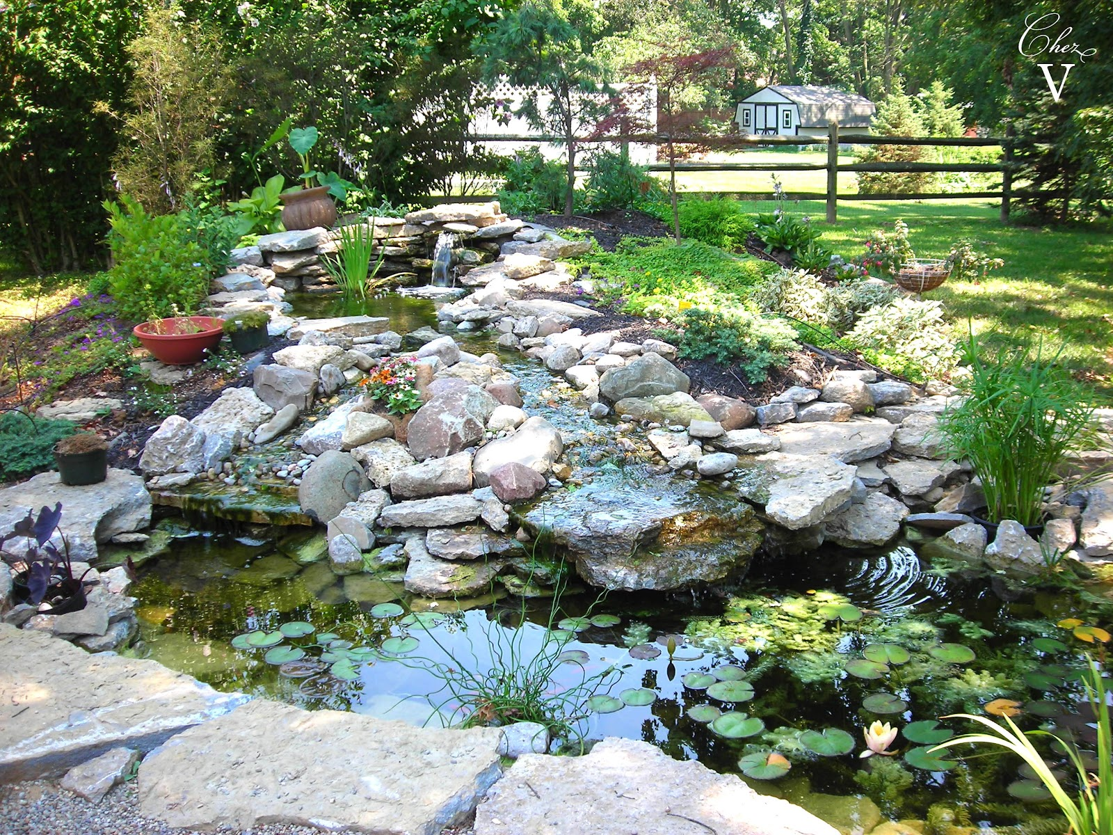 Chez v tales from the projects diy paver patio pond for Outdoor pond