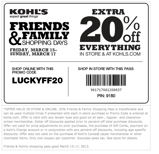 Shopping Tips for Kohl's: 1. If you shop online, you can use up to four Kohl's promo codes in one transaction. Combine a Kohl's coupon for free shipping and one of each of a dollar amount, percentage and sitewide discount. On the mobile app, however, only two Kohl's offers are accepted. 2.