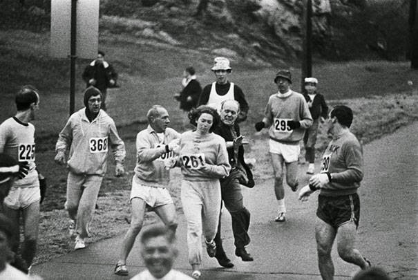 These 15 Incredibly Rare Historical Photos Will Leave You Speechless - Women were not allowed to run the Boston Marathon in 1967. Kathrine Switzer dodged that rule, and became the first woman to finish despite organizers trying to stop her.