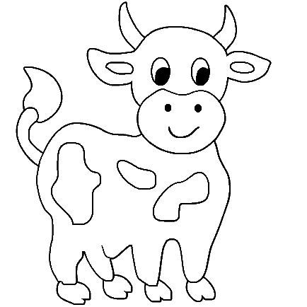 Free Printable Coloring Sheets on Cute Cow Animal Coloring Books For Kids Drawing