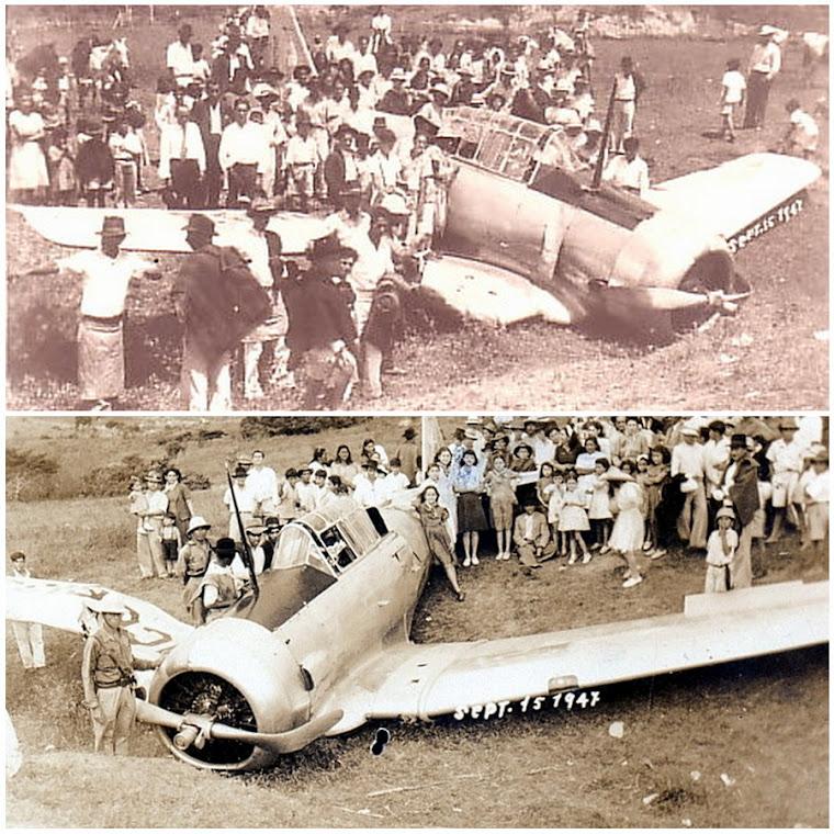 """Vultee BT-13 """"Valiant"""" En la Finca La Esneda de Ricardo Ossa Ossa. Restrepo Valle Colombia 1945."""