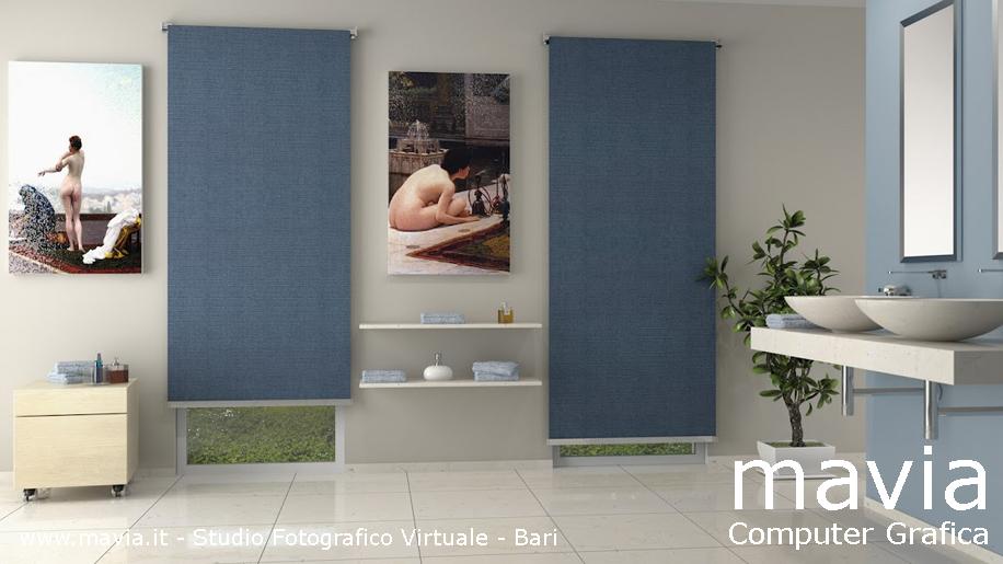 Arredamento di interni: Arredo bagni: Bagno in muratura rifinito con marmi bi...