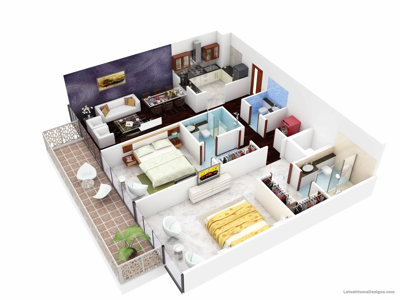 3D Apartment Floor Plans