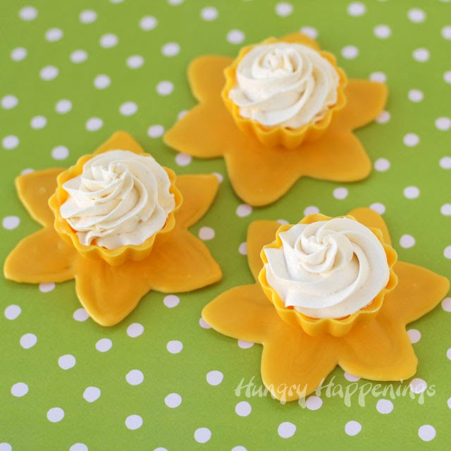 daffodil candy cups with lemon mousse