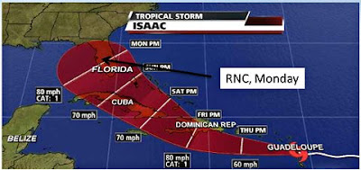 storm track - Isaac targeting the RNC convention