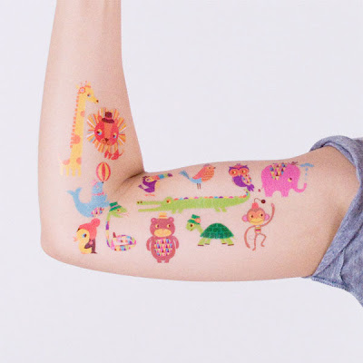Spotted these cute temporary tattoos on the blog of Two Paper Dolls