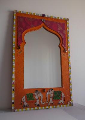 commande d'un miroir personalisé mosaique verre jaune billes chinoises fond texture orange papier motif cachemire style orientalisant par mimi vermicelle boutique alittlemarket