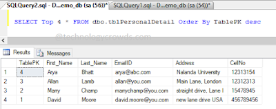 Select Top Query