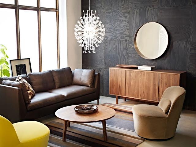Stockholm Pendelleuchte, Sideboard und Drehsessel von IKEA im Mid-Century Design