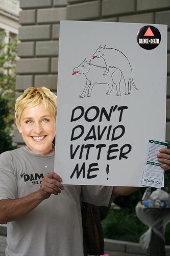 heterophobia, heterophobic, Ellen protesting David Vitter, photoshop