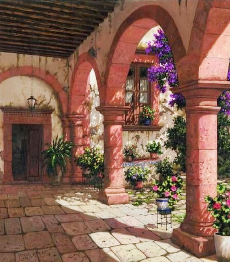Im genes arte pinturas balcones pasillos y terrazas for Terrazas mexicanas