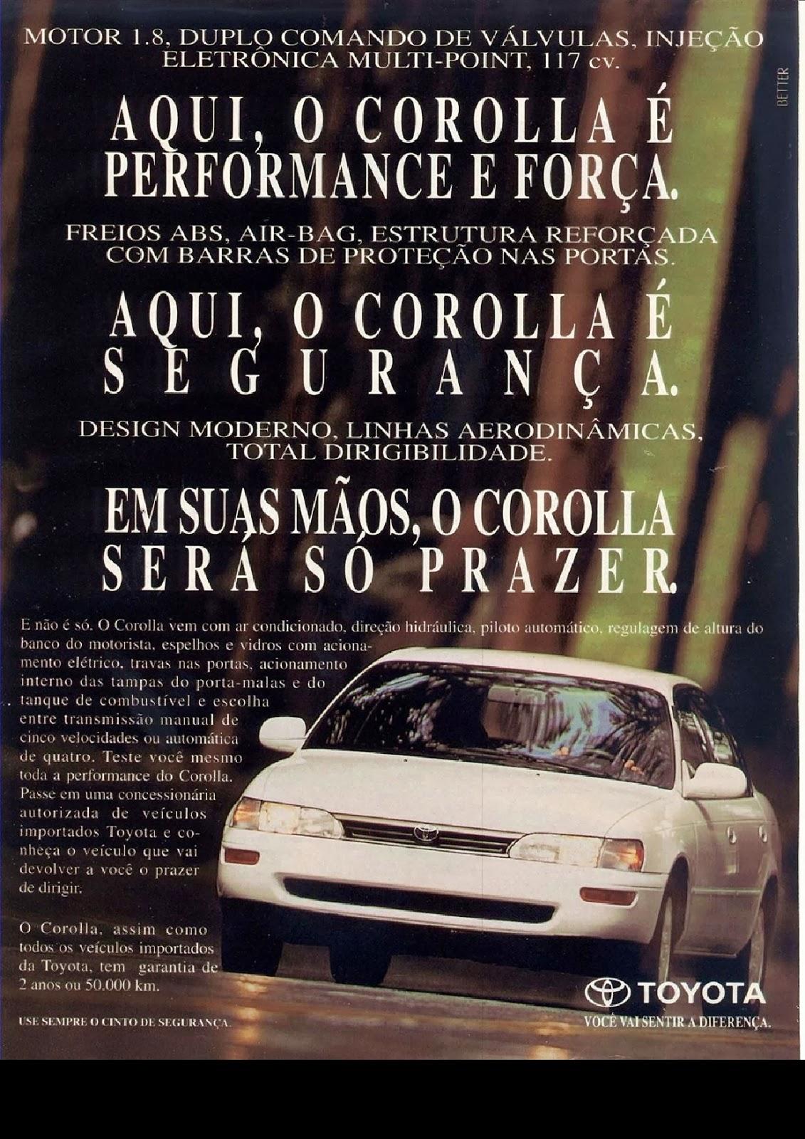 Primeira propaganda do Toyota Corolla no Brasil em 1992