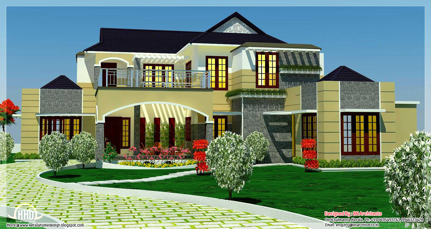 5 bedroom luxury home in 2900 sq feet kerala home for Luxury house plans online