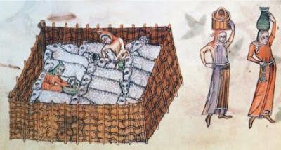 Miniatura z manuskryptu Luttrell Psalter