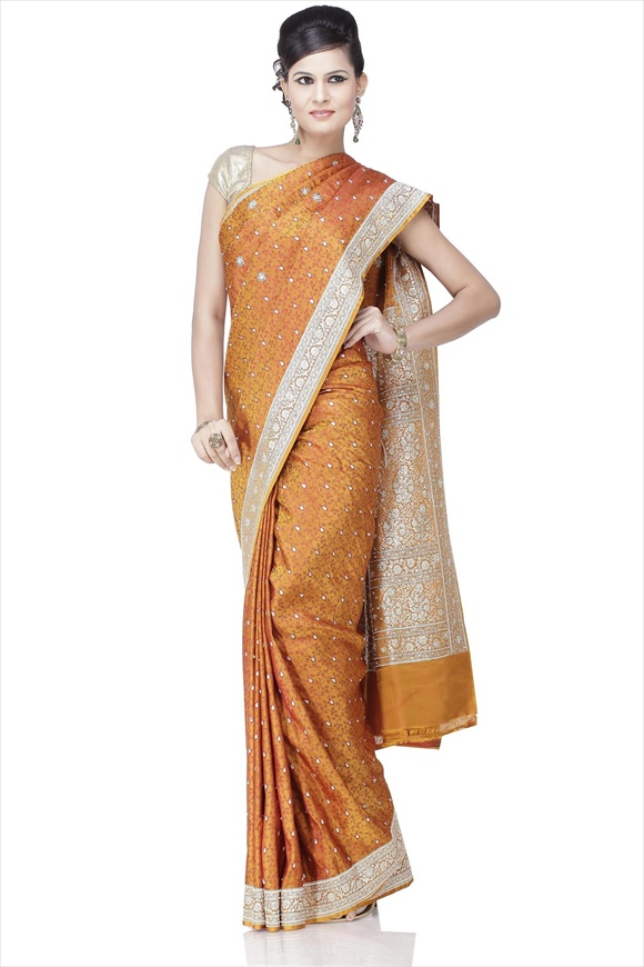 Amazon Green Kattan Silk Banarasi Saree