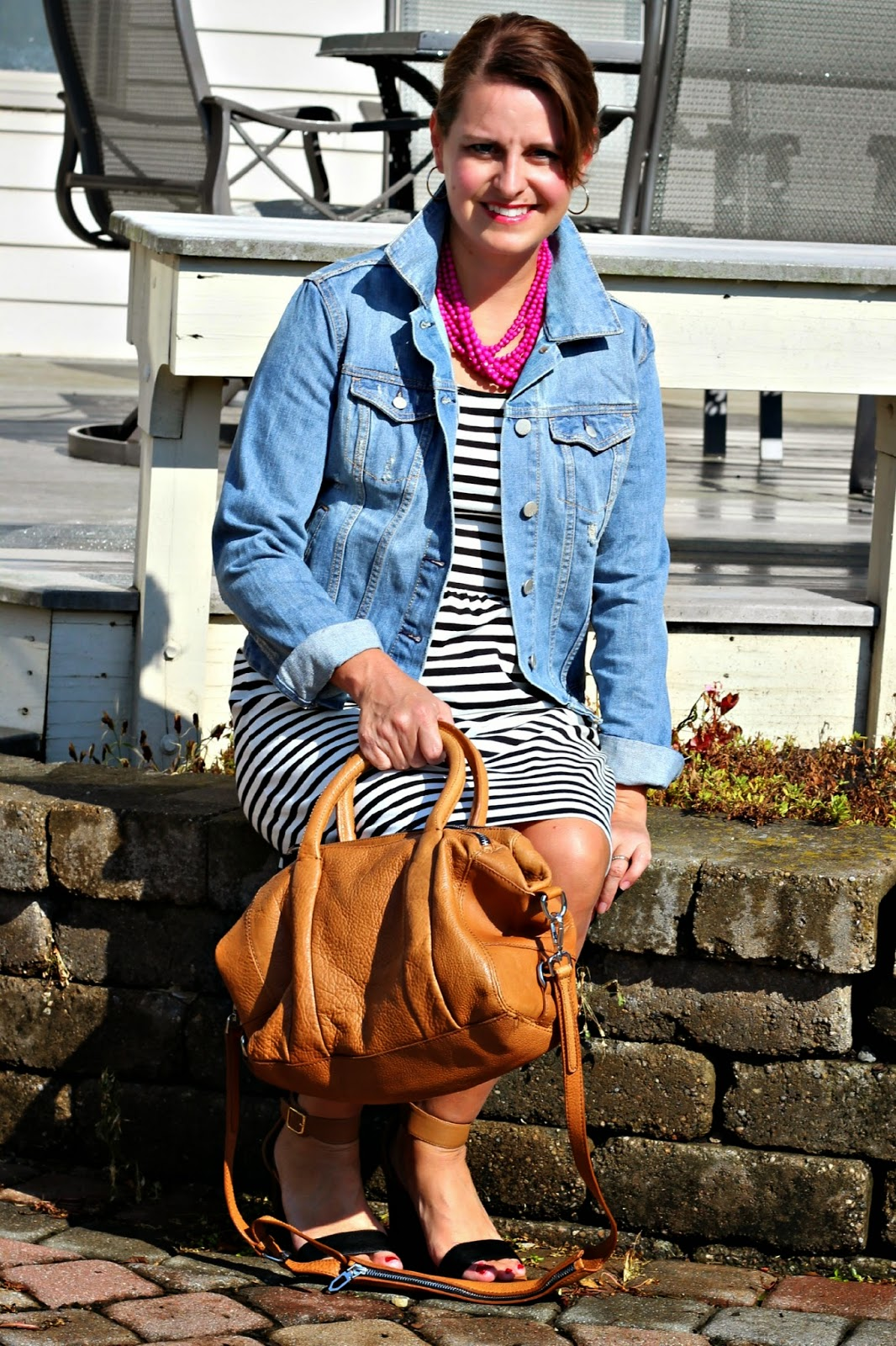 Old Navy black and white fit and flare dress, Gap denim jean jacket, Zara cognac purse, Old Navy 2 tone block heel sandals, pink layered necklac