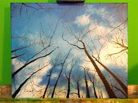 pintura-con-acrílicos-entramado-bosque-cielo