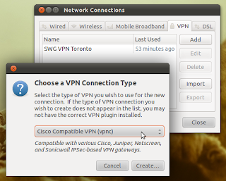 Adding a new Cisco VPN connection on Ubuntu