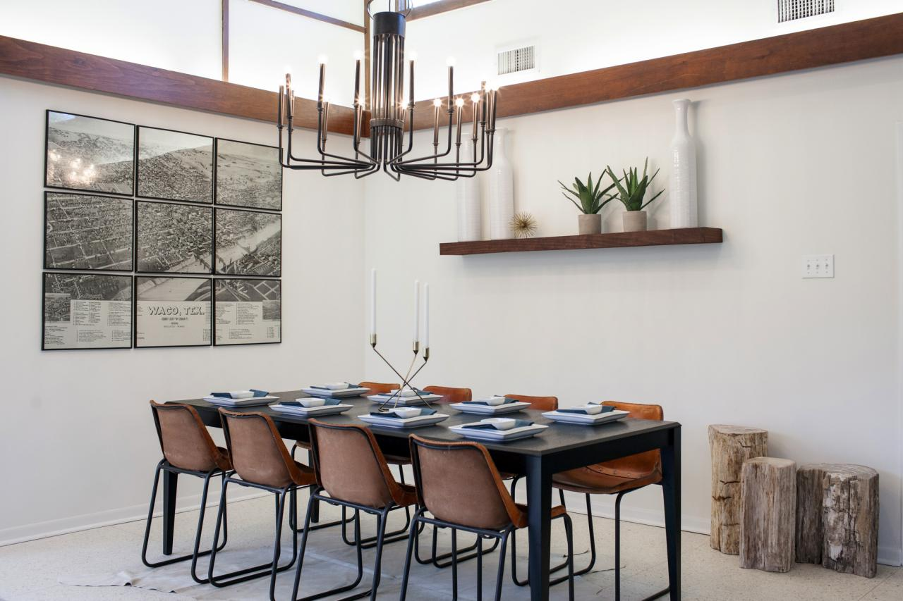 Fixer upper modern kitchen - Midcentury Modern Dining Room Makeover Retro Chandelier Leather Dining Chairs Photo Credit Hgtv Fixer Upper