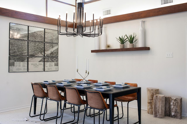 Midcentury modern dining room makeover, retro chandelier, leather dining chairs