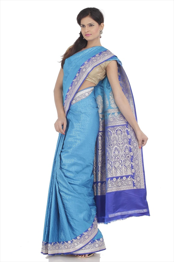 Peacock Blue Satin Banarasi Saree