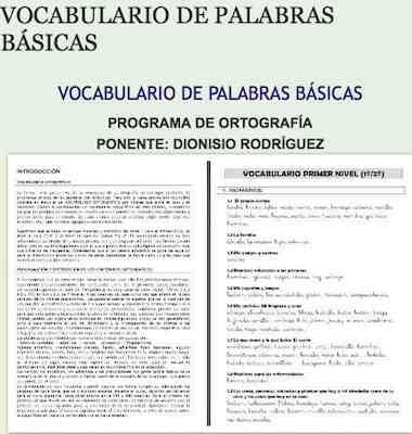VOCABULARIO DE PALABRAS BÁSICAS