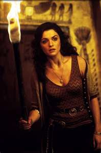actress rachel weisz in mummy movie, her black dress in this movie is very exciting and provoking