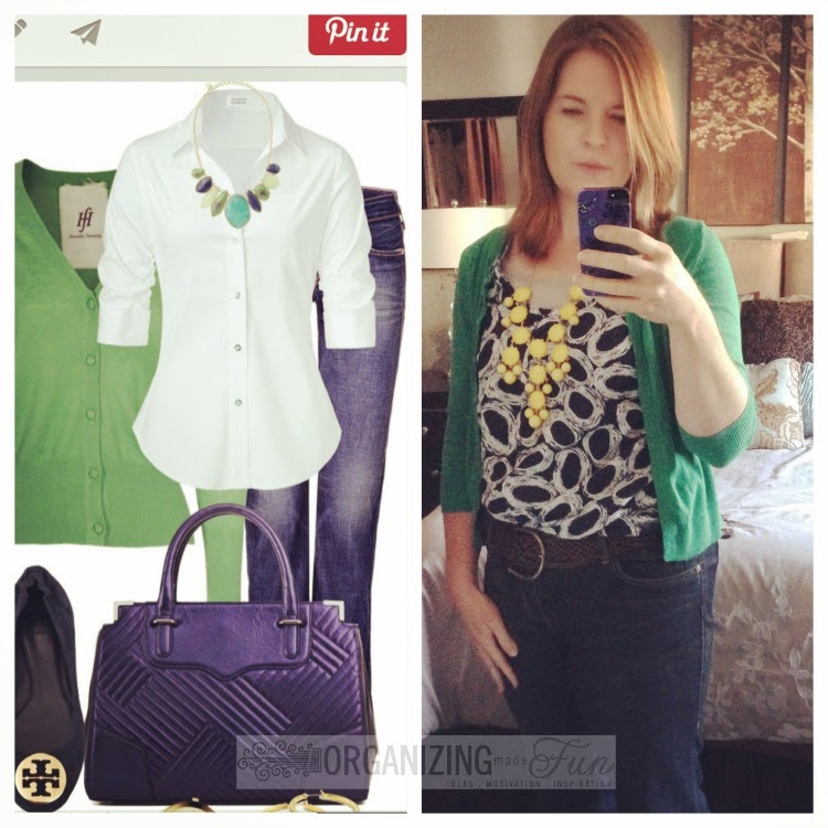 Find outfits from your own closet through Pinterest:: OrganizingMadeFun.com -- green cardigan, navy printed top, yellow necklace, belted jeans