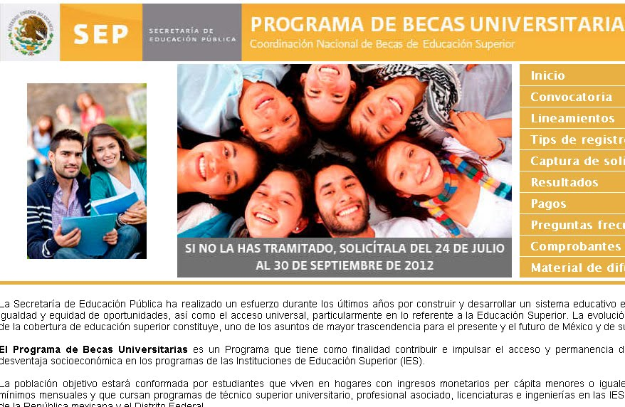 Convocatoria 2012 Programa de Becas Universitarias DF