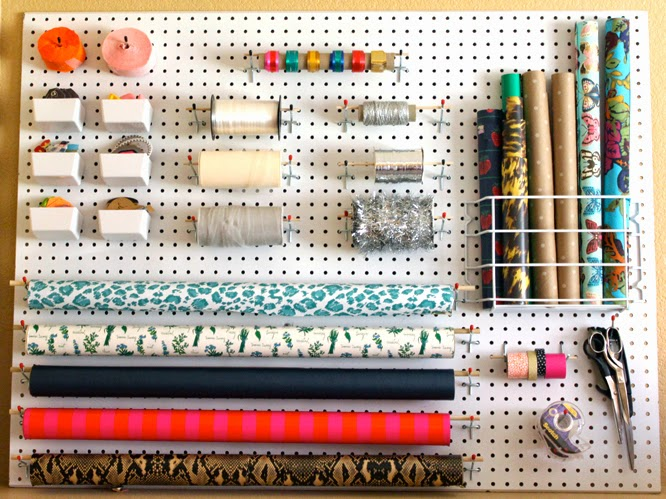 wrapping paper, gift wrap, gift wrap organization, pegboard project