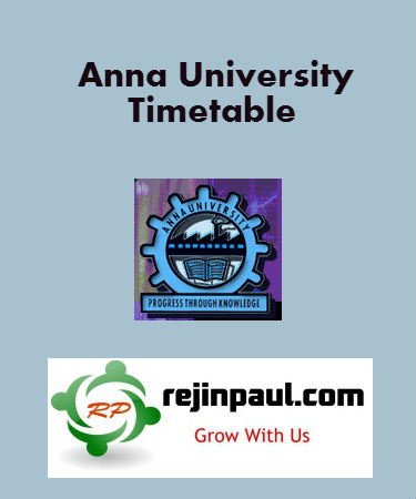 Anna University PG Timetable 2014 April May June