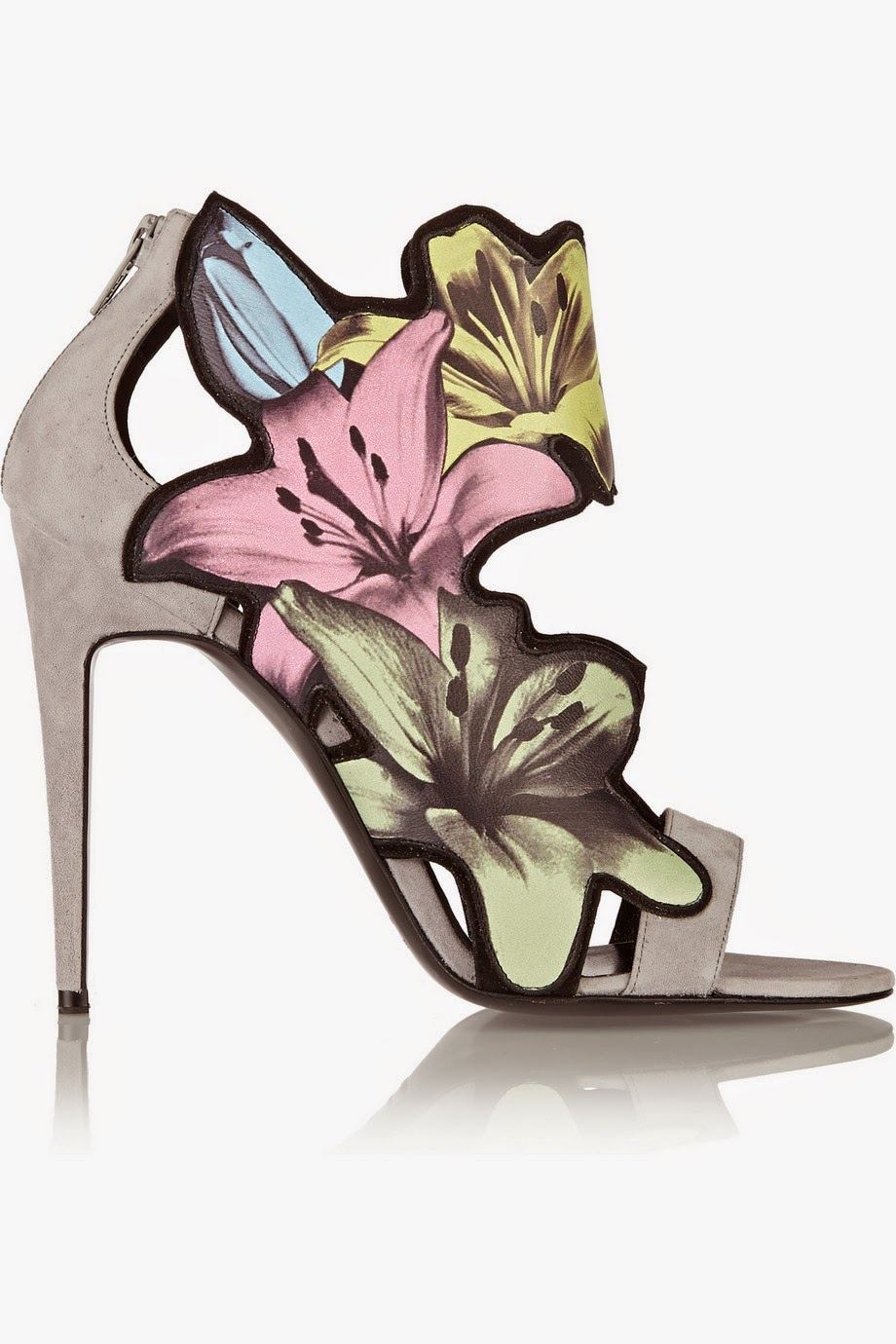 PIERRE HARDY Grey suede flower appliqué sandals