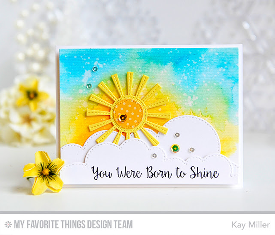Born to Shine Card by Kay Miller featuring the Bling It On stamp set and the Sunny Skies and Stitched Cloud Edges Die-namics #mftstamps