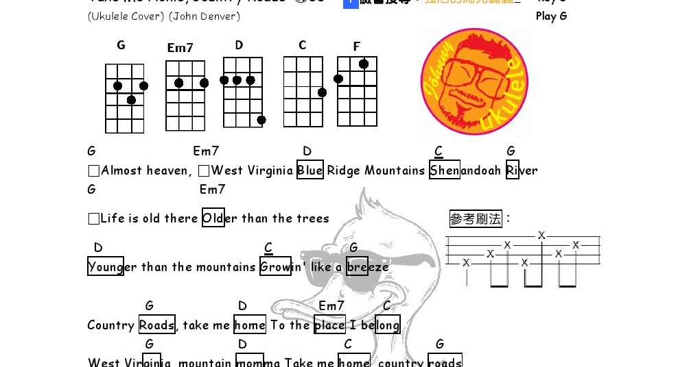 Unique Take Me Home Country Roads Ukulele Chords Ensign Song
