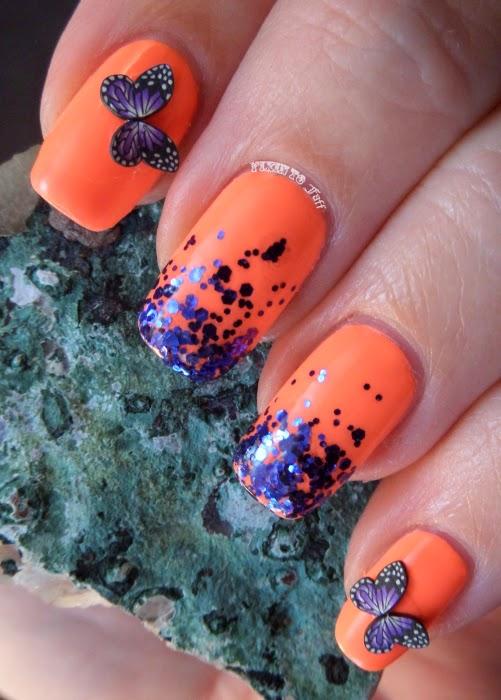 Neon Coral Purple Glitter Gradient Butterflies Nail Art