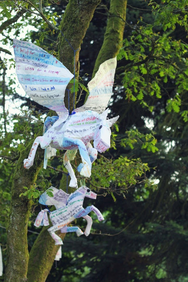 decor, festivals, Larmer Tree 2014, pegasus, wishing tree, sculpture, woods, forest, installation