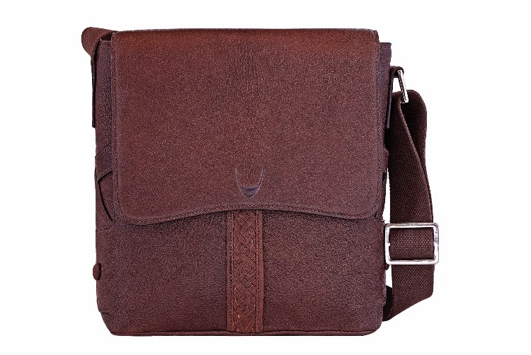 The leather messenger bag.