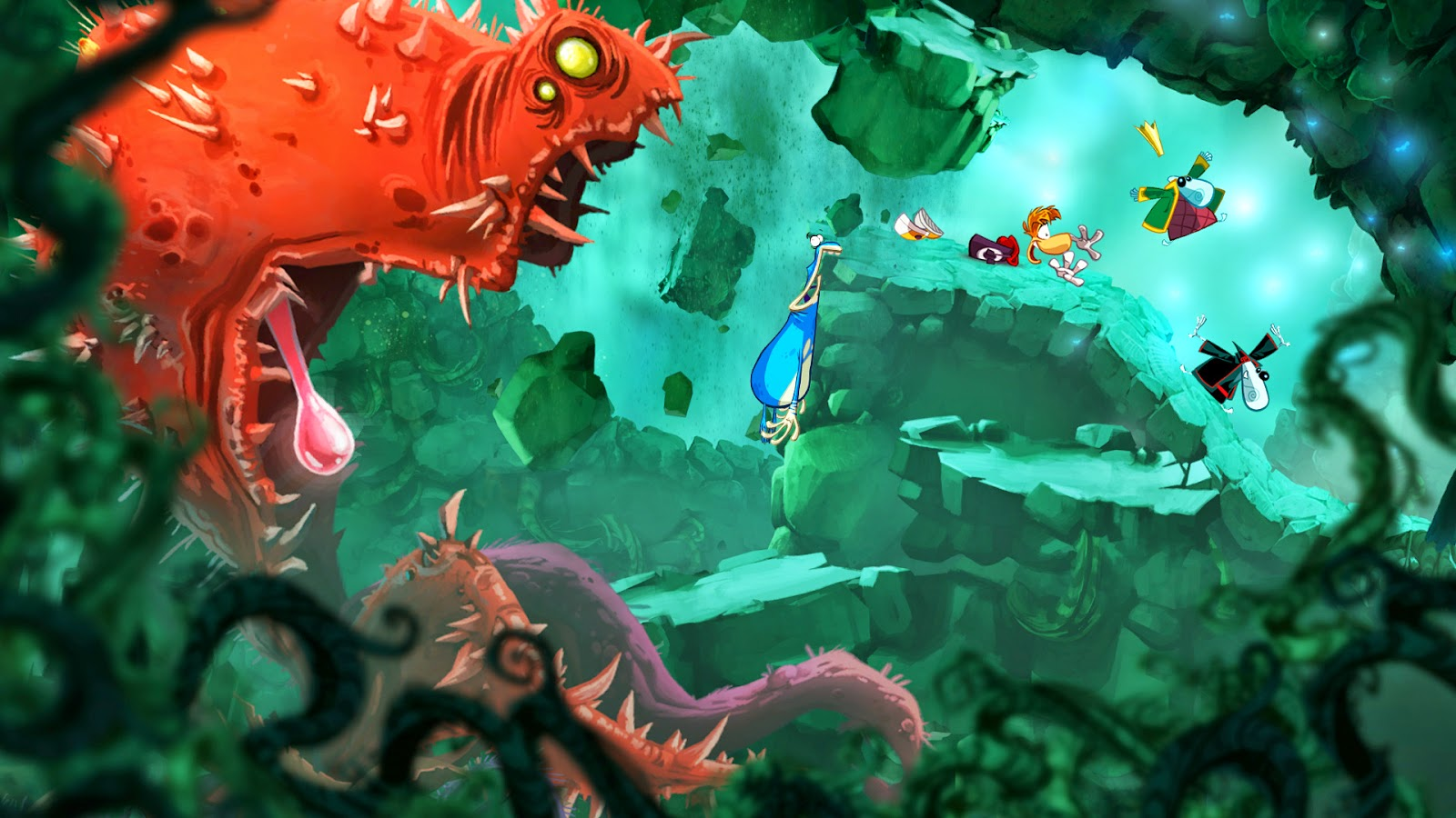 Rayman origins screenshot of a boss fight