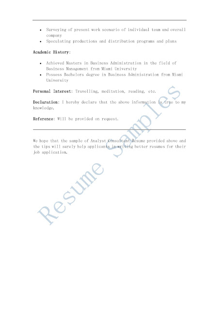 resume sles analyst consultant resume