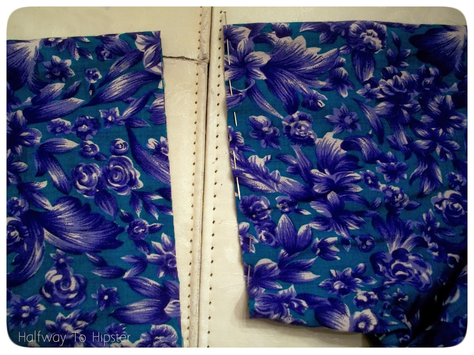 Halfway to Hipster: Teal Flowered Dress Refashion