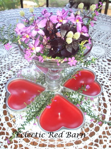 Cake Stand as Valentine's Day Vase with Ground orchids