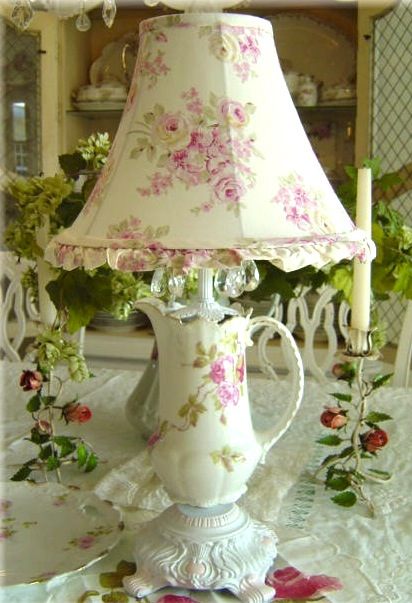 teacup lamp made from chocolate pot