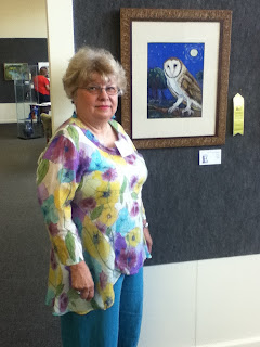 "Sue and ""Luna"" at Second Saturday artist's reception"
