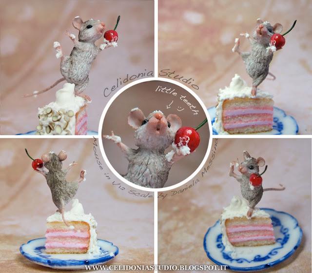 Topino su Torta.- Miniatura 1/12 in Pasta Sintetica by Celidonia - Daniela Messina