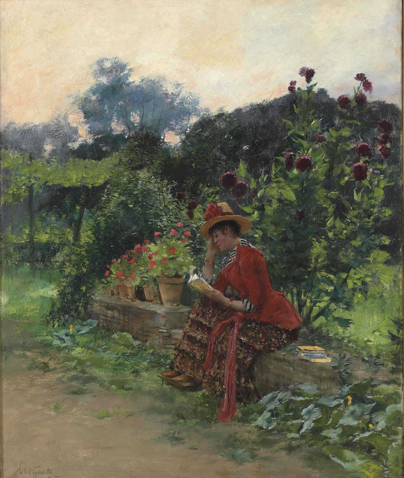 Norbert Goeneutte La lecture au jardin Christies